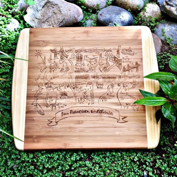 San Francisco 2 Map Small Bamboo Cheese Board