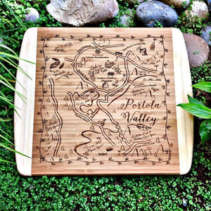 Portola Valley Map Small Bamboo Cheese Board