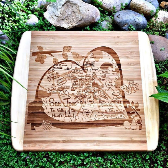 San Jose Map Small Bamboo Cheese Board