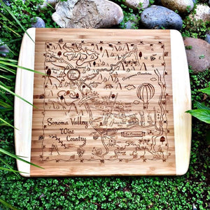 Sonoma Valley Map Small Bamboo Cheese Board