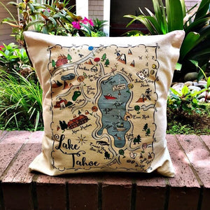 Lake Tahoe Map Square Pillow