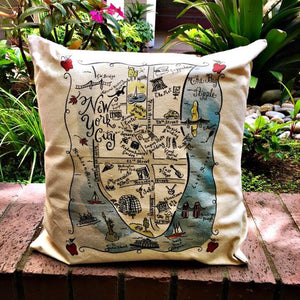 New York City Map Square Pillow