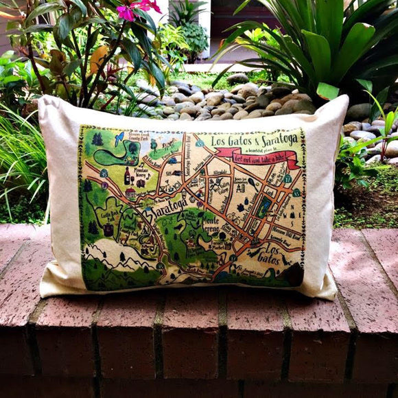 Los Gatos-Saratoga Map Rectangle Pillow