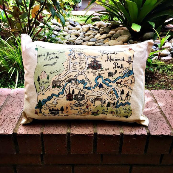 Yosemite National Park Map Rectangle Pillow