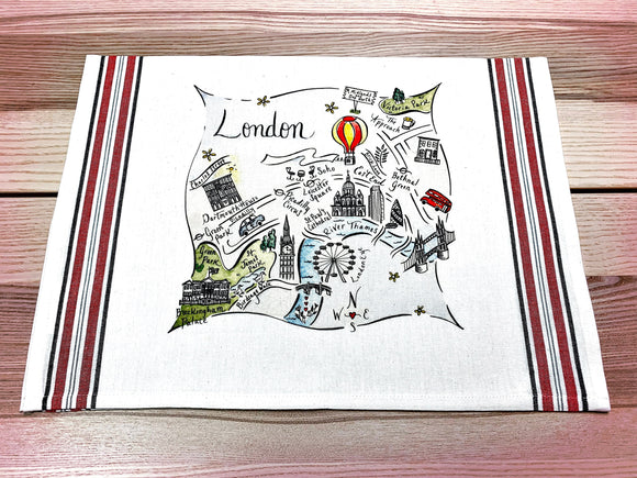 London 2 Map Kitchen/Tea Towel