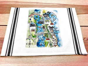 Vero Beach, Florida Map Kitchen/Tea Towels