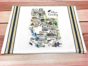 Wine Country Map Kitchen/Tea Towel