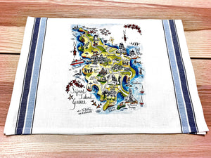 Sifnos Island, Greece Map Kitchen/Tea Towel