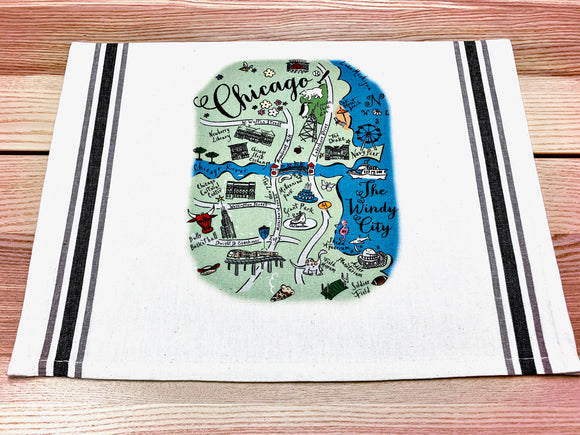 Chicago Summer Map Kitchen Tea Towel