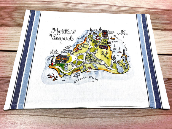 Martha's Vineyard Map Kitchen Tea Towel