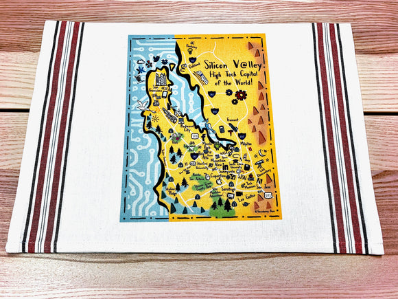 Silicon Valley Map Kitchen/Tea Towel