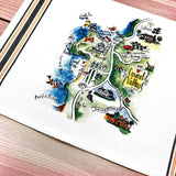Carmel Valley Map Kitchen/Tea Towel