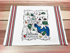 Baltimore Map Kitchen/Tea Towel