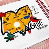 Ohio State Map Kitchen/Tea Towel