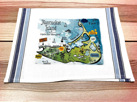 Nantucket Island Map Kitchen Tea Towel