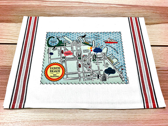 North Beach Map Kitchen/Tea Towel