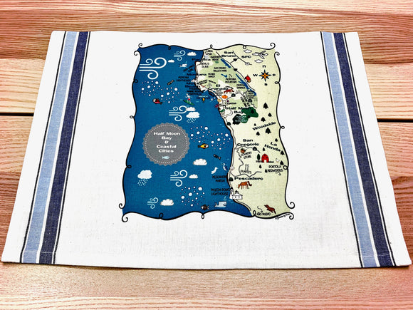 Half Moon Bay Map Kitchen/Tea Towel