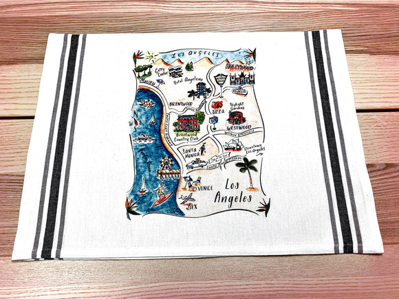 Los Angeles 2 Map Kitchen/Tea Towel