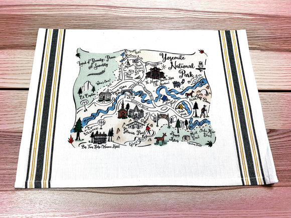 Yosemite Map Kitchen/Tea Towel