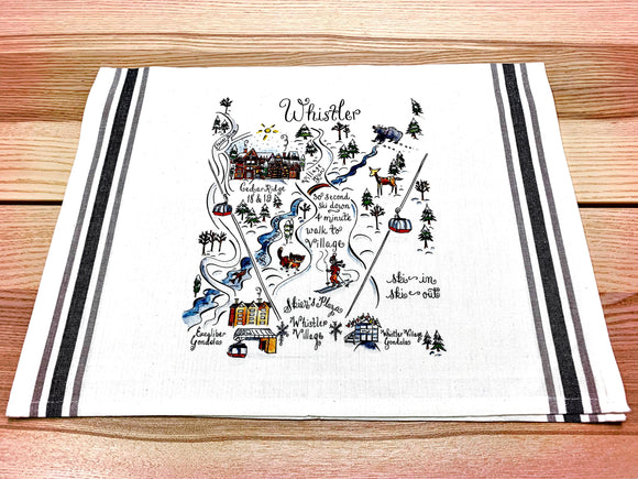 Whistler Map Kitchen Tea Towel