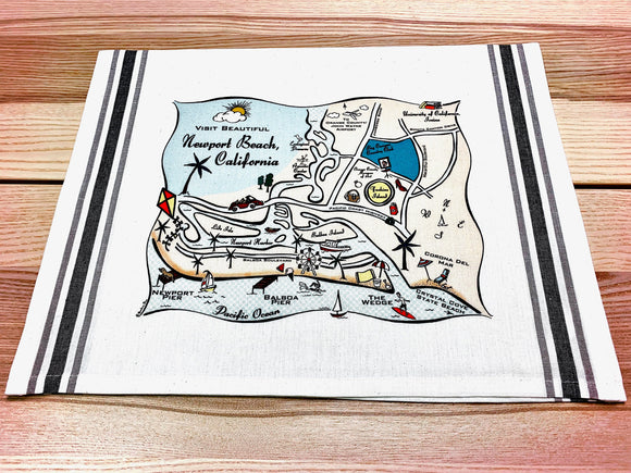 Newport Beach Map Kitchen Tea Towel
