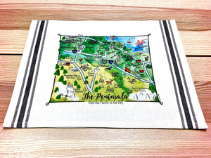 SF Peninsula Map Kitchen/Tea Towel