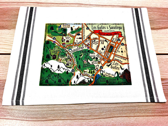 Los Gatos - Saratoga Map Kitchen/Tea Towel
