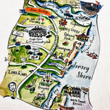 Jersey Shore (Design 1) Map Kitchen/Tea Towel