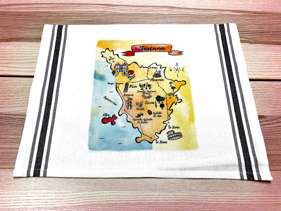 Tuscany Map Kitchen/Tea Towel