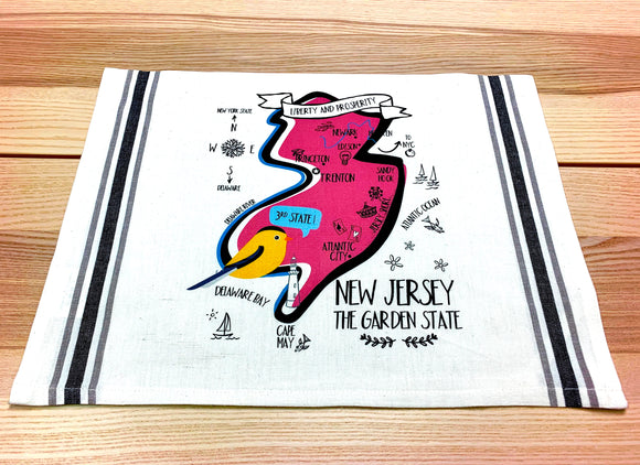 New Jersey Map Kitchen/Tea Towel