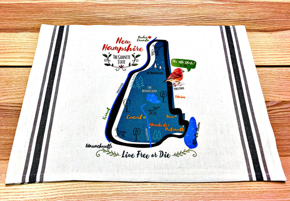 New Hampshire State Map Kitchen/Tea Towel