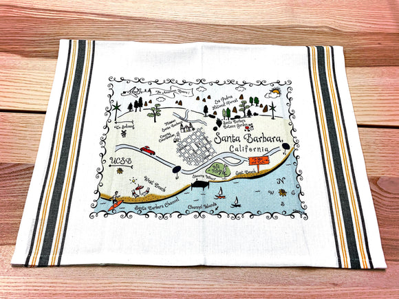 Santa Barbara Map Kitchen/Tea Towel