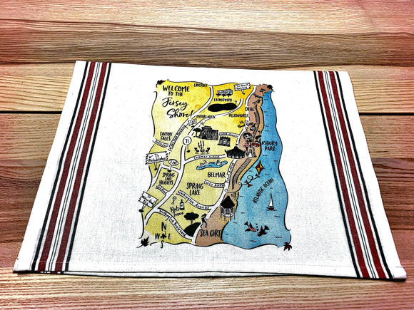 Jersey Shore 2 Map Kitchen/Tea Towel