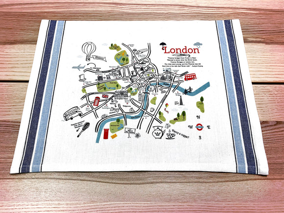 London 1 Map Kitchen/Tea Towel