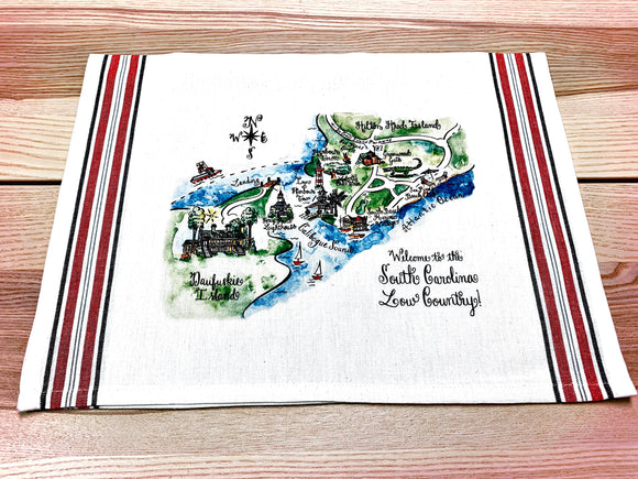 South Carolina Low Country Map Kitchen/Tea Towel