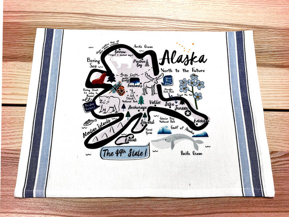 Alaska State Map Kitchen/Tea Towel