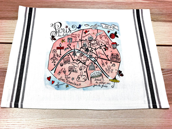 Paris Map Kitchen/Tea Towel