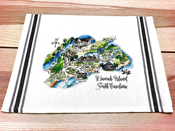 Kiawah Island, South Carolina Map Kitchen/Tea Towel