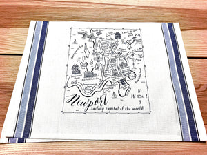 Newport Rhode Island Blue Map Kitchen Tea Towel