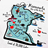 Minnesota State Map Kitchen/Tea Towel