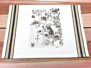 Santa Fe Map Kitchen Tea Towel