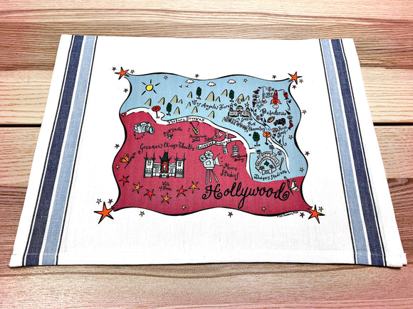 Hollywood Map Kitchen Tea Towel