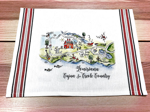 Louisiana Map Kitchen/Tea Towel