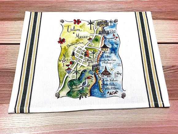 Tulum, Mexico Map Kitchen/Tea Towel