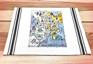 Newport, Rhode Island Color Map Kitchen Tea Towel