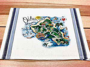 Oahu Map Kitchen/Tea Towel