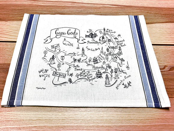 Cape Cod (Navy) Map Kitchen Tea Towel