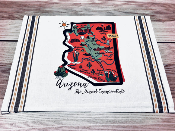 Arizona State Map Kitchen/Tea Towel