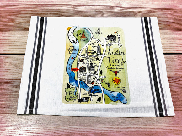 Austin Map Kitchen/Tea Towel