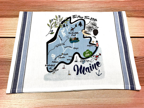 Maine State Map Kitchen/Tea Towel